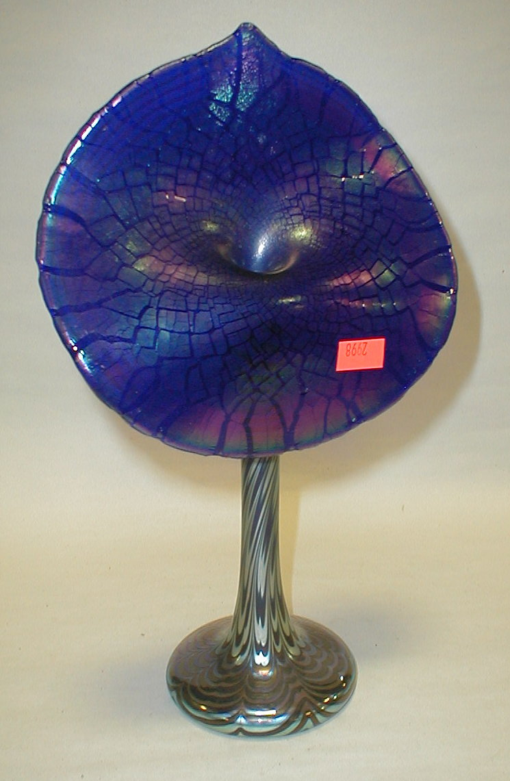 Blue iridescent glass Jack in the Pulpit vase. 11
