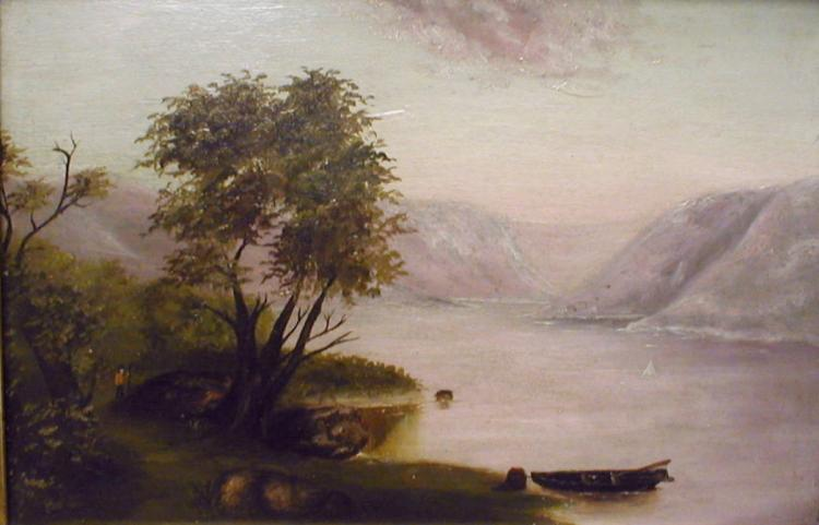 Naive Hudson River style oil painting on panel. Frame is 18 x 24