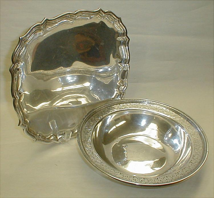 Sterling silver serving bowl and platter. Plate is 10.5