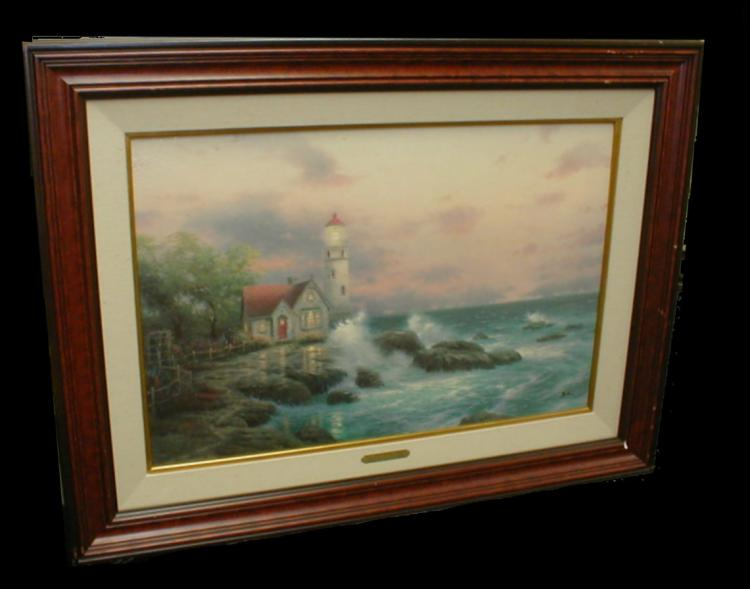 Thomas Kinkade print on canvas of a lighthouse titled