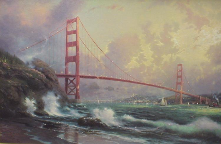 Thomas Kinkade print of canvas Golden Gate Bridge San Francisco. 3591/3950. 24x36
