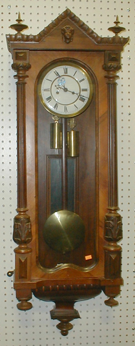 Gustav Becker double weight Vienna regulator wall clock. Movement serial number is 194685. Case is 44.5