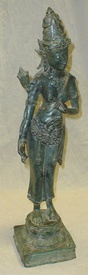 Sand cast brass sculpture of the Indonesian Rice Goddess Dewi Sri. Heavy