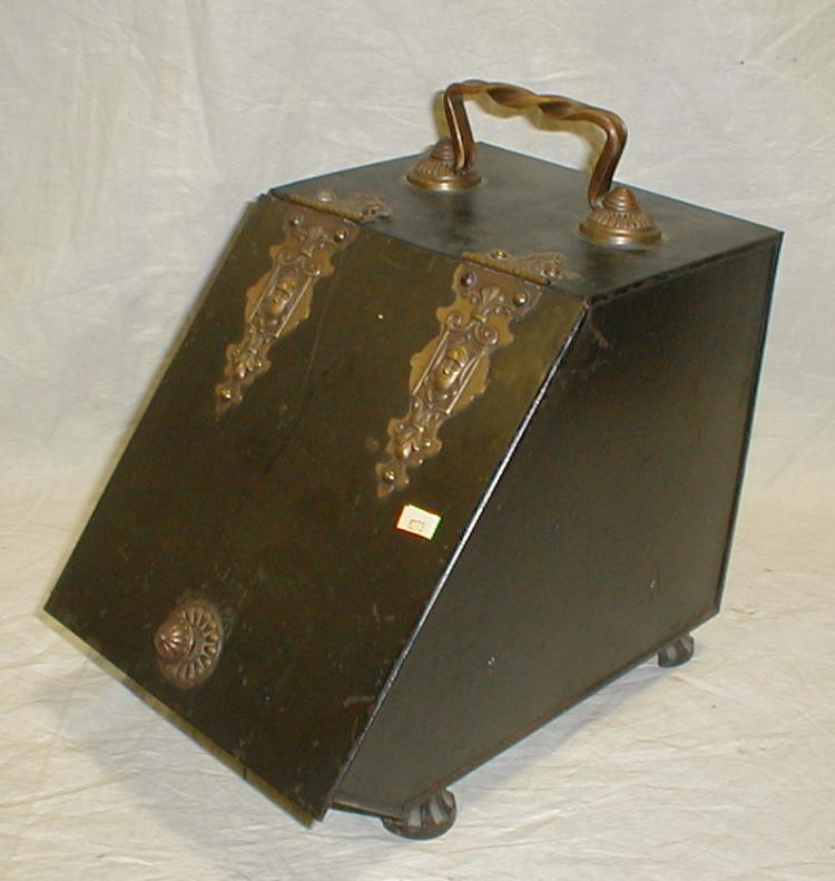 Edwardian metal coal box with insert and bronzed hardware.