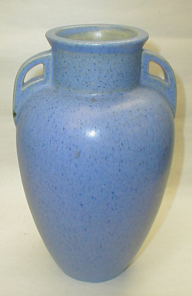 Fulper art pottery vase 1909- 1929. Matte blue. 10.25