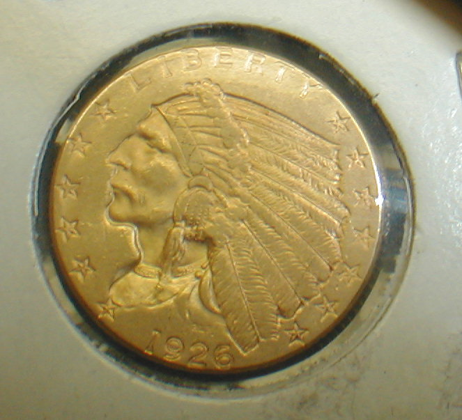 1926 U.S. 2 1/2 dollar gold Indian. Approximate grade xf