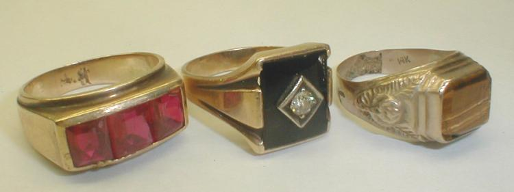 Three vintage men's as is gold rings