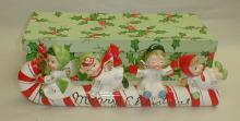 Geo. Z. Lefton Porcelain Candy Cane Sleigh with Angels, with original box. 10