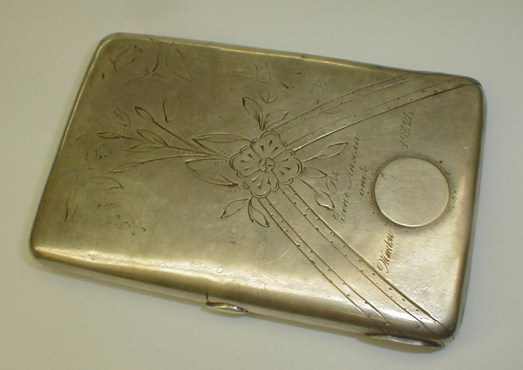 Russian silver cigarette case. Stamped twice with the Moscow second Kokoshnik 84 mark(.875 silver). 1908-1926. 4 5/8