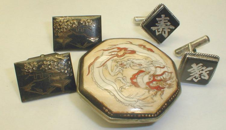 Late Meiji period Satsuma hand painted buckle, pair of Hong Kong silver cuff links, and pair of Siamese sterling cuff links