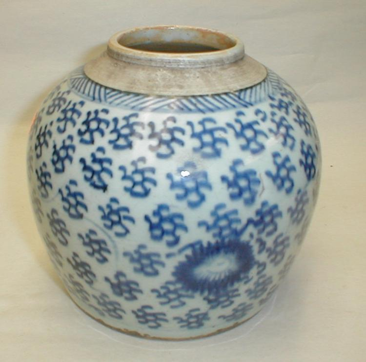 Chinese blue & white porcelain ginger jar. Blue underglaze painting of clouds and peony. 6.25
