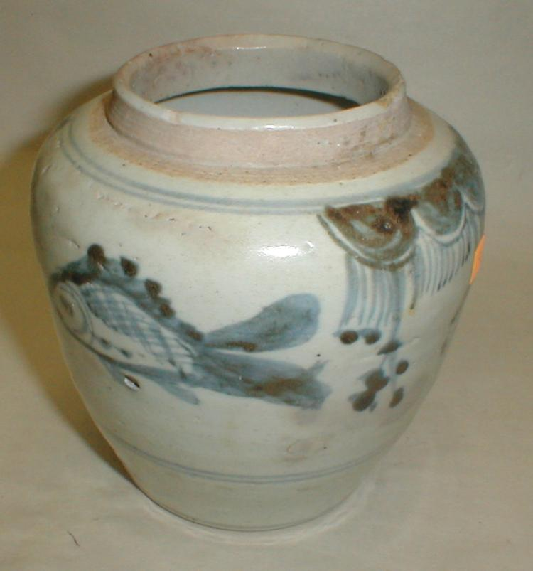 Chinese Blue & White porcelain ginger jar Painted with fish design. 5.5