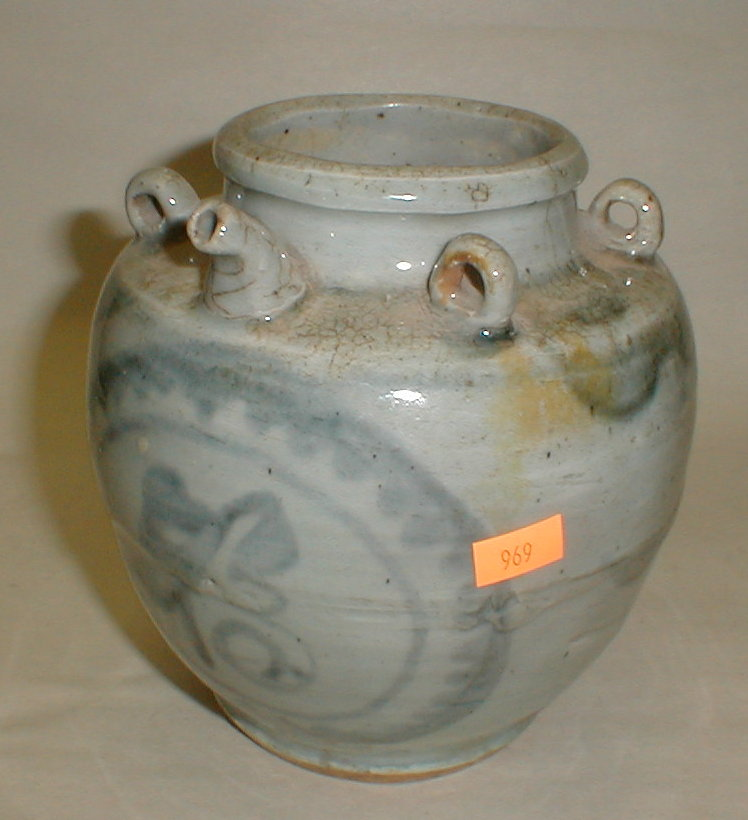Chinese blue & white porcelain oil jar. 6.25