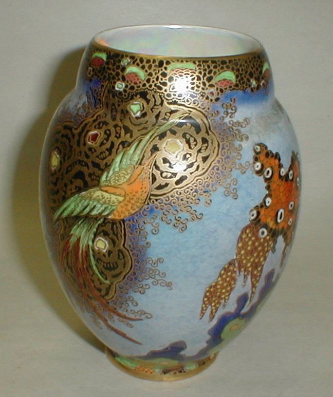 Carlton Ware Art Deco 1920's Vase with Paradise Bird, and Trees with Clouds on blue lustre background. 5 3/4