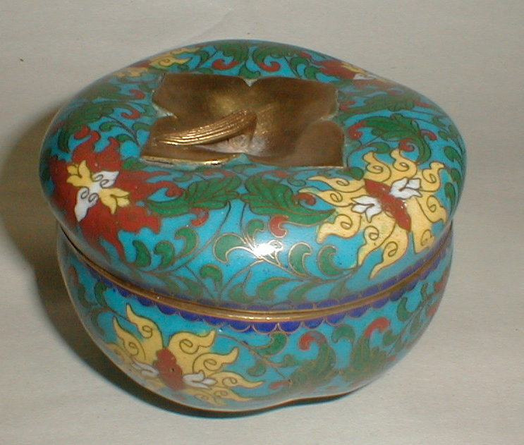 Cloisonne Persimmon shaped lidded Dresser Box Jar with brass stem finial. 4