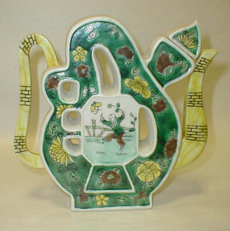 Chinese Famille Verte Puzzle Teapot / Wine Pot. Both sides have picture of gentlemen in medallion. 7 3/4