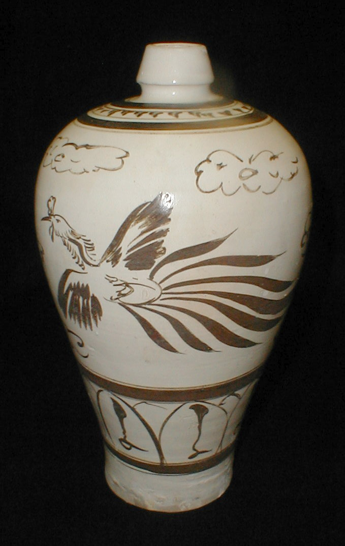 Chinese Cizhou Meiping with phoenix design. 10 7/8
