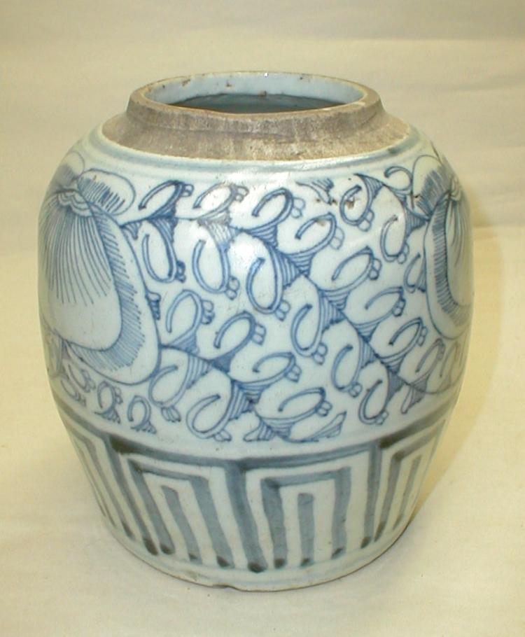 Chinese blue and white ginger jar with peach and vine pattern. 6.5