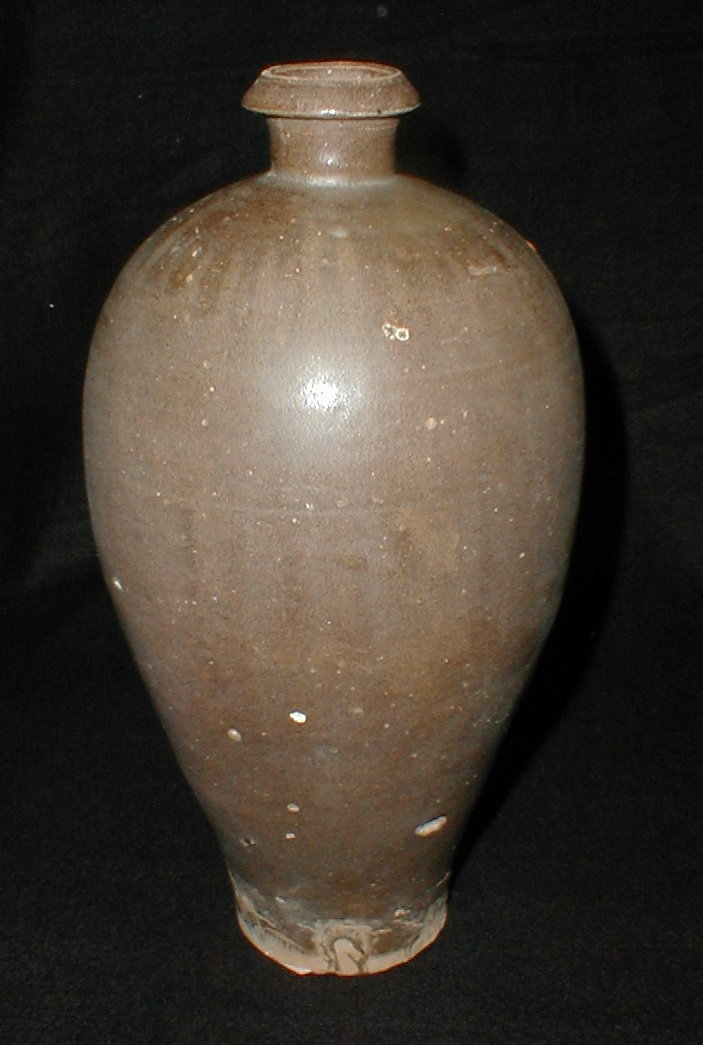 Chinese brown glazed meiping vase with iron striping. 11.25 inch tall. Song dynasty?