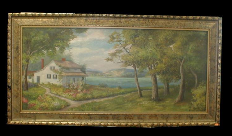 Landscape oil on canvas with a country house by a lake. Signed lower right K.C. Tucker Label on reverse from Tucker's Art Store. 18x40