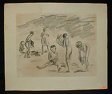 Max Liebermann (1847-1935) pencil signed lithograph mounted on cardboard with German label inverso. Show area is 10.75