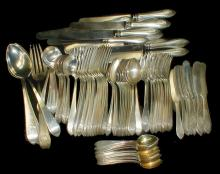 Sterling flatware set by Bailey, Banks & Biddle. 88 pieces service for twelve. Total weight 75.895 troy ounces excluding knives