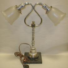 TWO ARMED TABLE LAMP. Chrome on black Italian marble base. Marble repaired