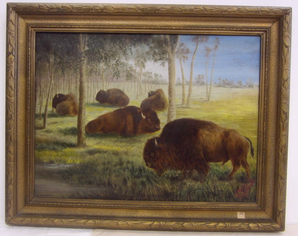 """A 1921 ENGLISH OIL ON CANVAS, DEPICTS BUFFALO. SIGNED G.D. CURRIE 1921. CANVAS IS 18"""" X 24"""""""
