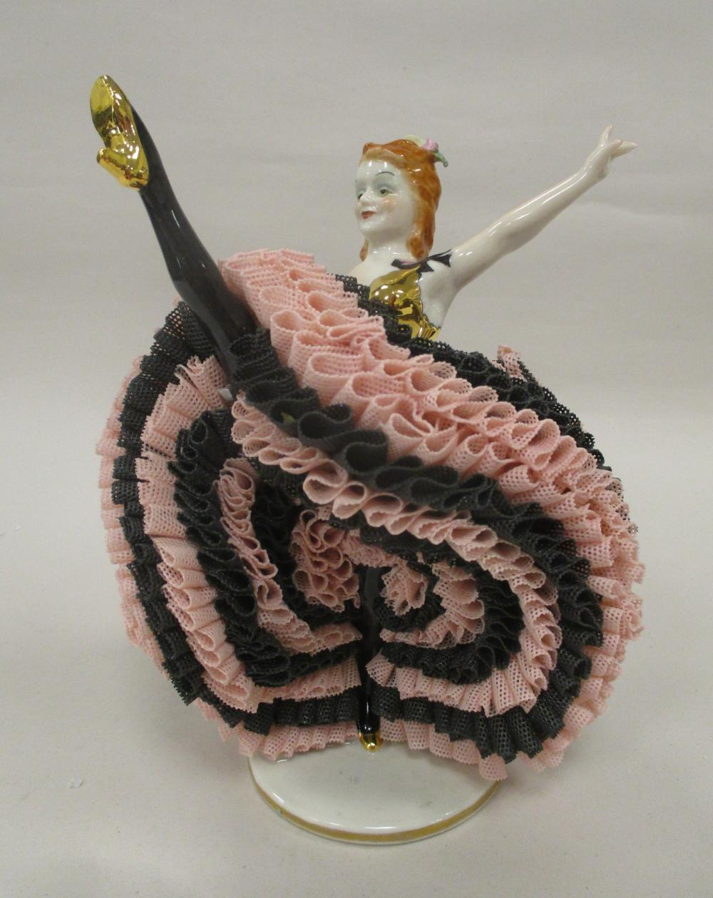 """MZ IRISH DRESDEN PORCELAIN AND LACE FIGURINE """"LAUTY MAE"""". 6.5"""" TALL TO THE TIP OF HER FOOT"""