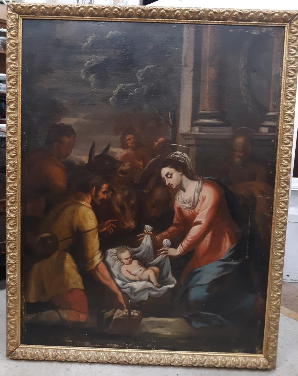 """18TH CENTURY ADORATION OF THE MAGI OIL ON CANVAS. ARTIST UNKNOWN. 31"""" X 40"""". SOME LIGHT AREAS ON THE EDGE. VARNISHED OVERALL. NEWER FRAME"""