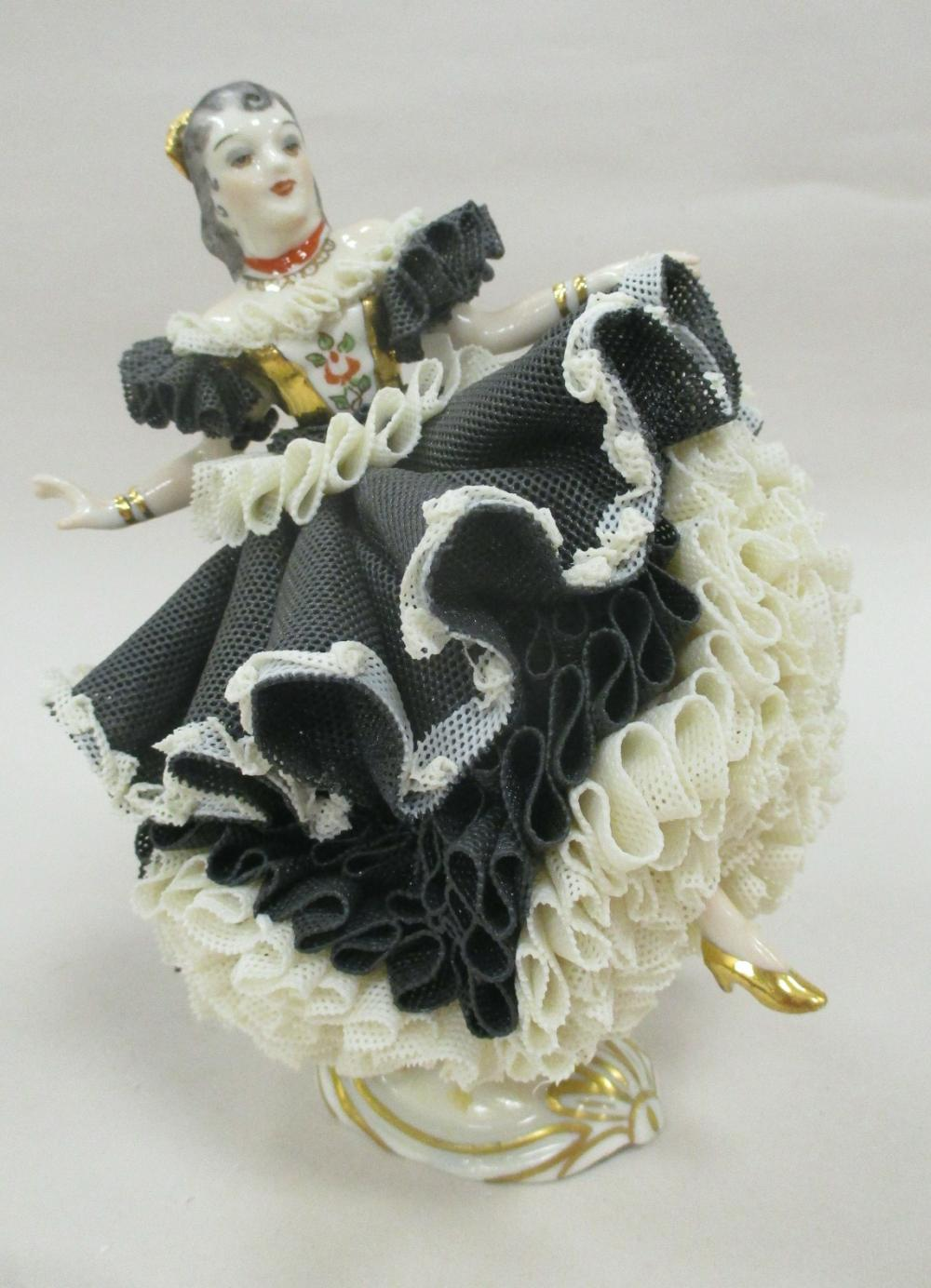"""IRISH DRESDEN LACE FIGURE OF A DANCING WOMAN, """"CARMEN"""". NUMBERED 34320. 6"""" TALL"""