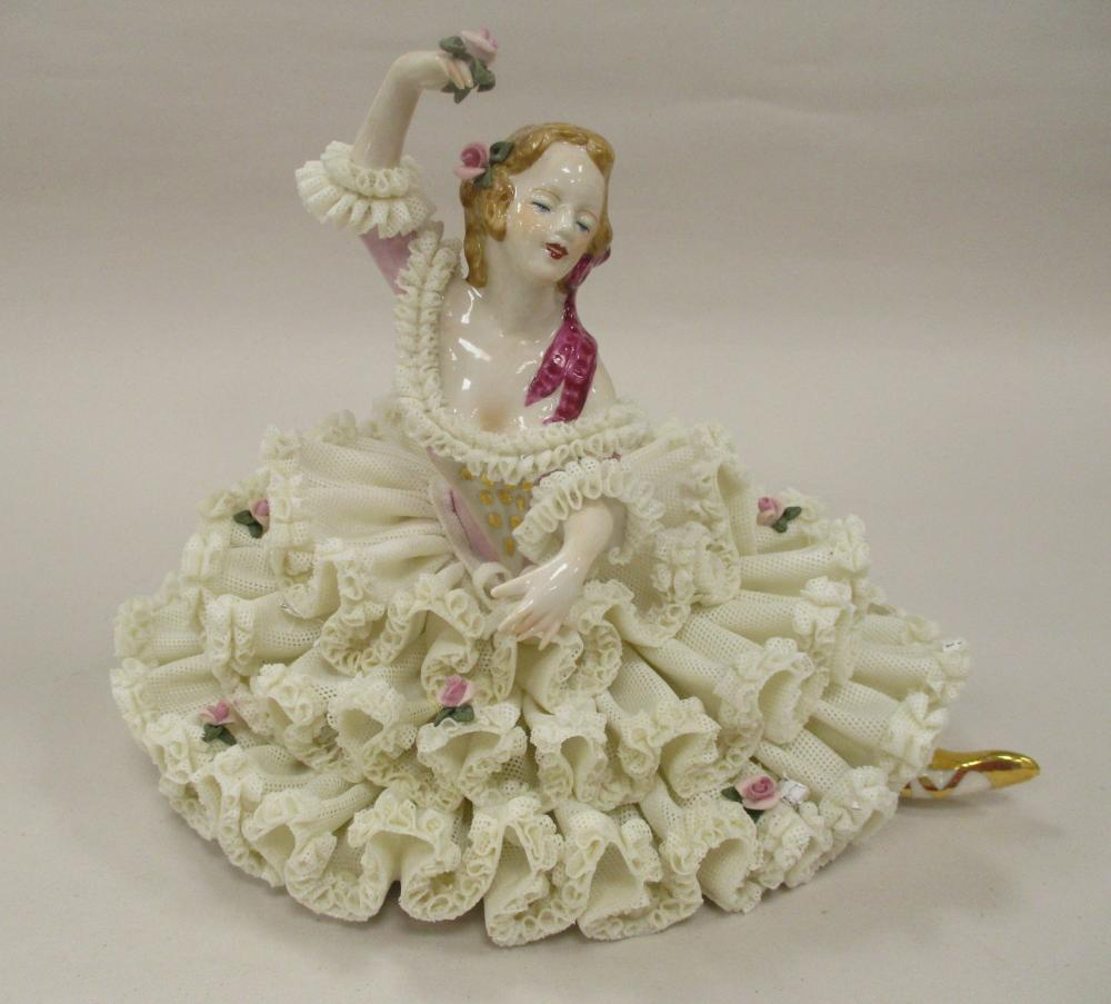 """DRESDEN LACE PORCELAIN FIGURE OF A DANCING WOMAN. 6"""" TALL"""