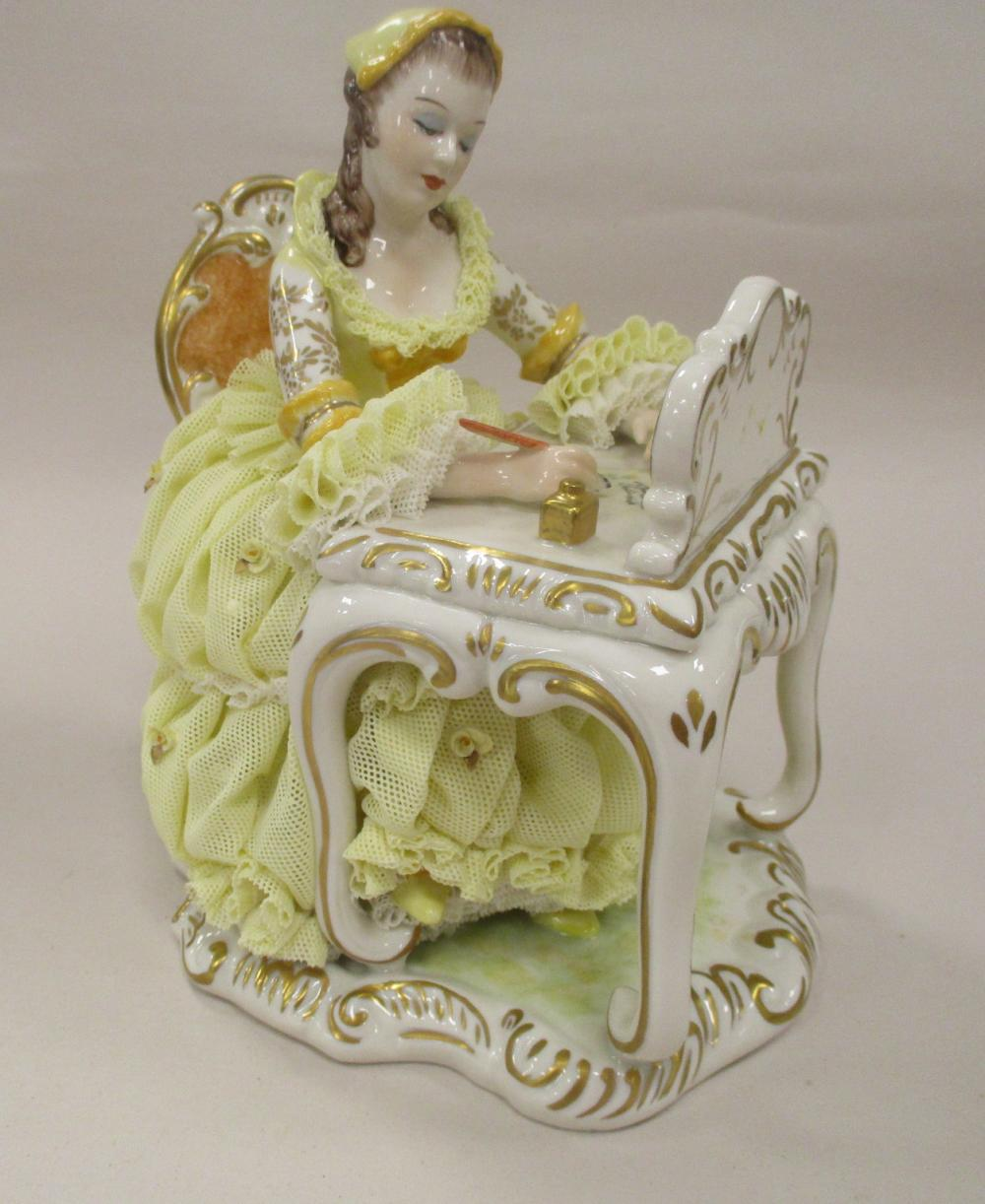 """IRISH DRESDEN FIGURE """"THE LOVE LETTER"""", SUNSHINE COLLECTION. DEPICTS A WOMAN WRITING A LETTER AT A DESK. 7"""" TALL"""