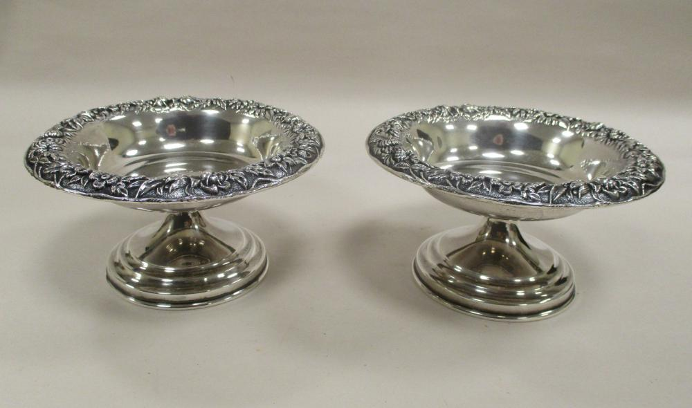 """PAIR OF S. KIRK & SONS INC. STERLING SILVER REPOUSSE' NUT DISH COMPOTES, NUMBERED 408. 2 5/8"""" TALL, 5"""" DIAMETER. WEIGHT 8.38 TROY OUNCES"""