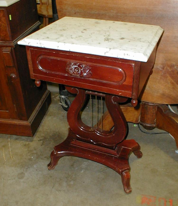 Kimball Furniture Regency Style Marble Top Work Table Back