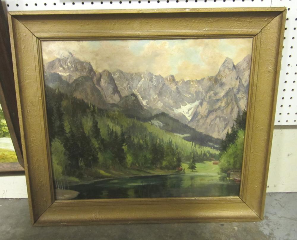 Hardboard Panel For Painting ~ Landscape oil painting on masonite panel mountain range bef