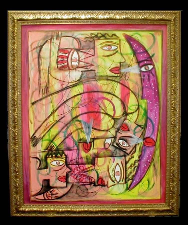 Contemporary Modernist painting on canvas in frame. Mirror image of painting in pen on reverse. Show area is 30.25 x 37