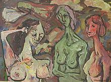 Kenneth L. Callahan (1905- 1986, American) Tempera on paper mounted to masonite panel. Three nudes. Label on back from Seattle Artresourse. 22 x 30