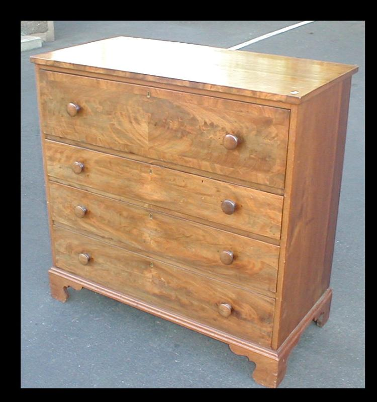 George III walnut four drawer chest. Pulls replaced Opening bid $200