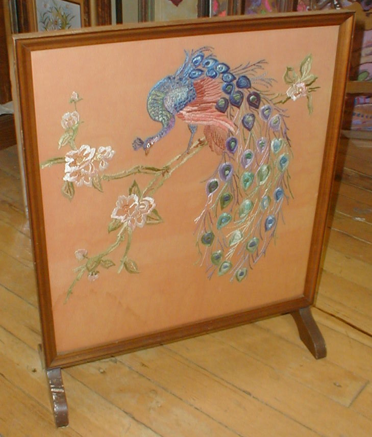 English Deco Fireplace Screen with Peacock embroidery. 24.25
