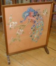English Deco Fireplace Screen with Peacock embroidery