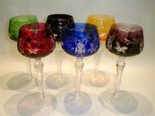 Set of six Bohemian Cut to clear crystal goblets. 8