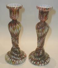 Pair of European fluted mottled Glass Candle Sticks. 9.25
