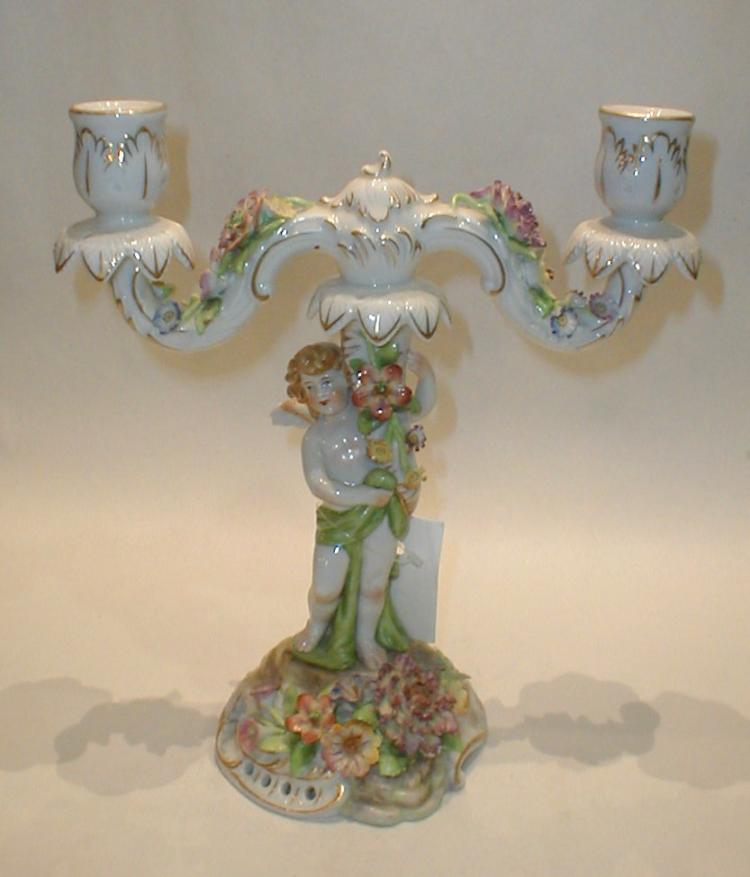 German hand painted Porcelain figural Candlestick. 10.25