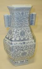 Chinese porcelain blue & white Guan with with tubular ear handles. Yongzheng hand signed style mark. 11 5/8