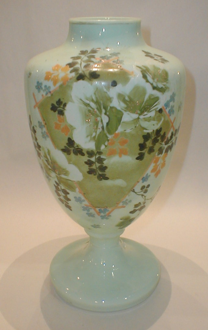 Bristol Glass hand painted vase. 12.5