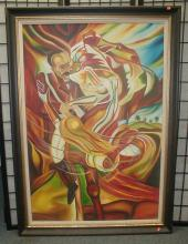 Contemporary Latin American Expressionism painting on canvas. Signed lower right