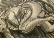 Charcoal drawing of a woman sleeping in fetal position. Signed lower right
