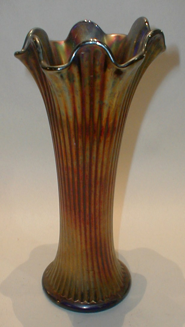 Arts & Crafts Period drawn Carnival Glass Vase. 10.25