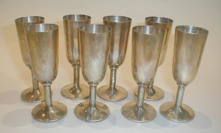 Set of Eight Sterling Silver Cordials by Fisher. 3.75